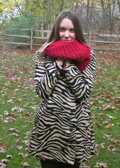 red scarf and zebra
